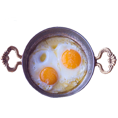 11) Fried Egg Served On Paella Pan